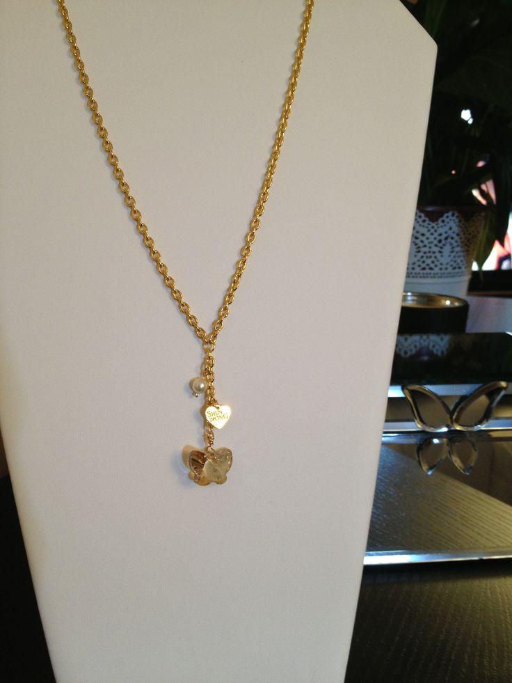 Golden Swarovski butterfly necklace by Shen Wong. Custom made order. www.ShenWong.com