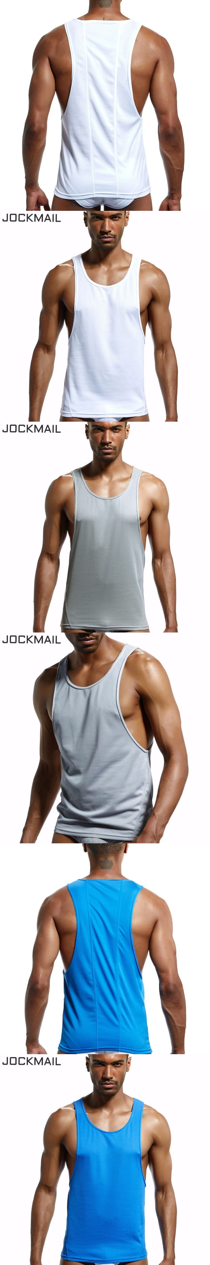 JOCKMAIL Brand Mens Workout Tank Tops Fitness Bodybuilding Clothing Low Cut Armholes Vivid Vest Muscle Singlets Men Activewear