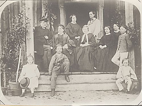 Johan Ludvig and Fredrika Runeberg (1807 - 1879) with family and frienss, Korksnäs Finland 1863, Alfred Ottelin, SLS.
