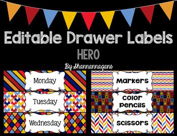Looking to add some fun to your organization? This includes 45 different drawer labels made for Sterilite Drawers (individual images and editable PowerPoint are both included). These are for the medium size that are wide enough to hold papers or general supplies.