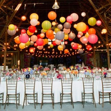 festive: Floating Paper Lanterns, Wedding Receptions, Color, Barns Parts, Wedding Lanterns, Parties Ideas, Balloon, Chine Lanterns, Barns Wedding