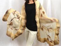 Molto grande sciarpa di seta, lana merino