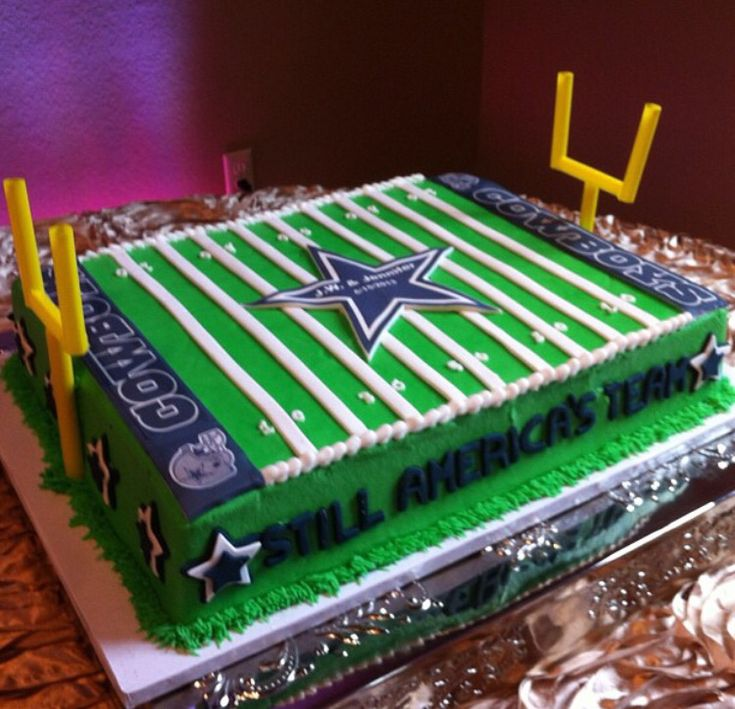 Grooms cake by Icing on the Top, one of our package vendors. Dallas Cowboys football field