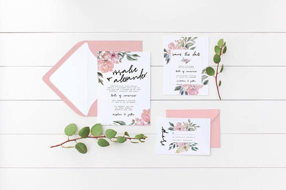 Floral Wedding Invitation Suite the Rosalie Suite Flower