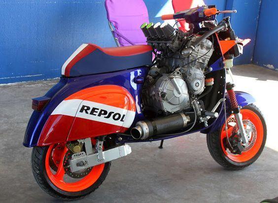 Motor Vespa Modifikasi Costum Honda Repsol