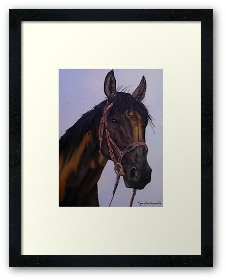 Framed Print, Horse, portrait,painting, equine,equestrian,western,animal,wild,wildlife,stallion,brown,fun,fancy,figurative,unique,artistic,beautiful,cool,awesome,decor,contemporary,modern,virtual,deviant,unique,fine,art,oil,wall art,awesome,cool,image,picture,artwork,for sale,redbubble