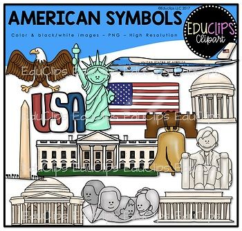 This is a collection of American symbols graphics. The images included in this set are: eagle, Statue of Liberty, Air Force One, USA sign, US flag, Liberty Bell, Monument, White House, Mt. Rushmore, Jefferson Memorial, WW1 Memorial, Lincoln Statue and Lincoln Memorial.