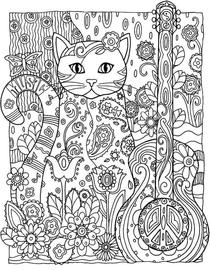 To Print This Free Coloring Page Adult Cat Guitar