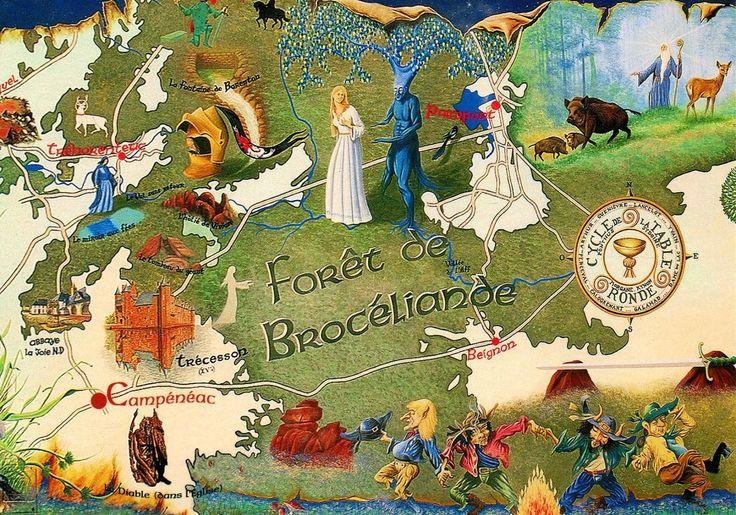 Лес Броселианд, карта, на обороте надпись:«Земля рыцарей, магические заклинания, феи и гоблины». Это о короле Артуре и рыцарях Круглого стола