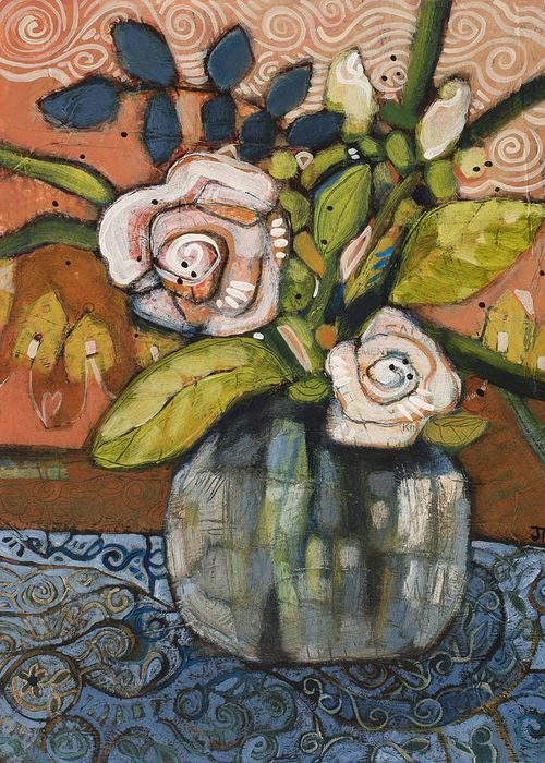 Fine art america august painting a small town in the rhine by indigo and orange floral greeting card for sale by jen norton fine art m4hsunfo