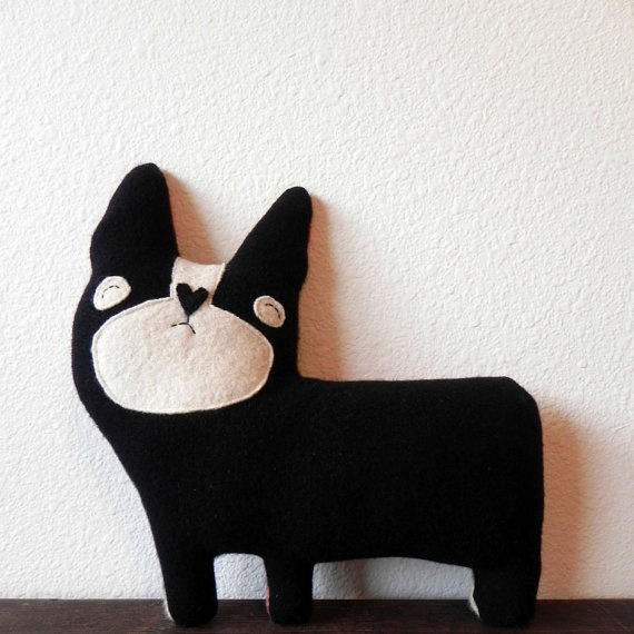 Bronson the Dog Wool Plush Pillow by threebadseeds on Etsy -- freaking CUTE!