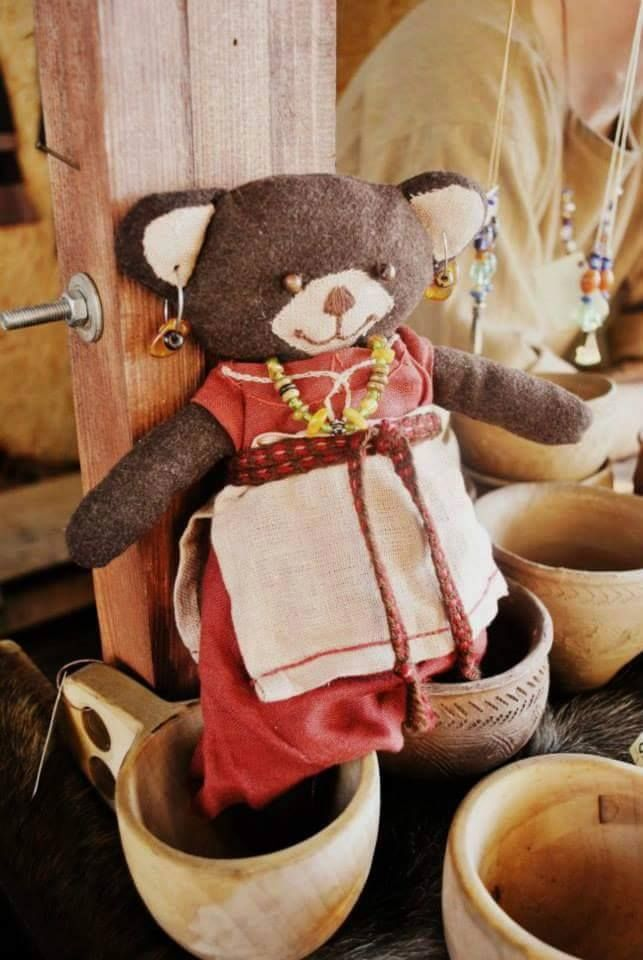 slavic teddy bear - 100% eco - natural textiles- linen and wool, glass beads, amber fot. W.Płonka