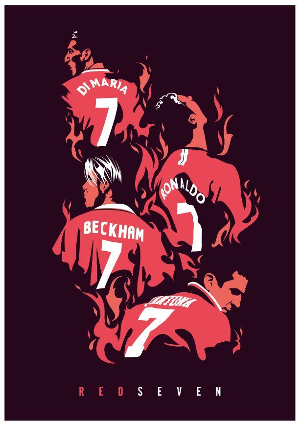 Manchester United Number Sevens, Cantona, Beckham, Ronaldo, Di Maria