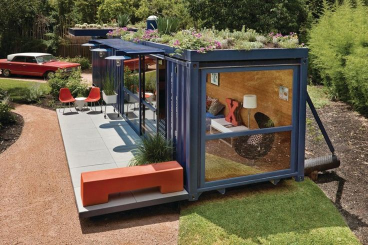 shipping container house--green roof