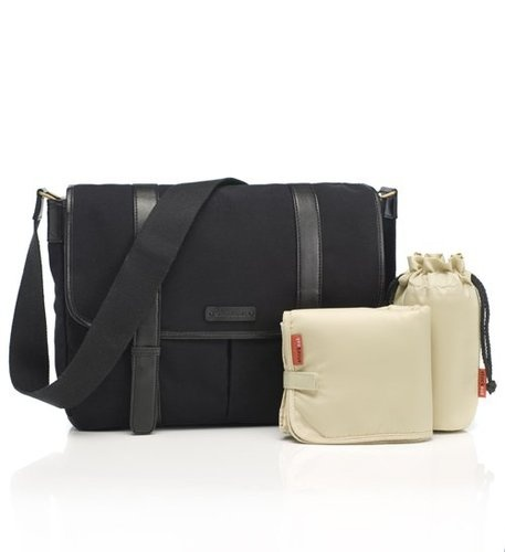 Storksak Aubrey Canvas Black Unisex. Not only does it keep baby bottles hot/cold, it can also hold most laptops! $199.00 and available at www.dollface.com