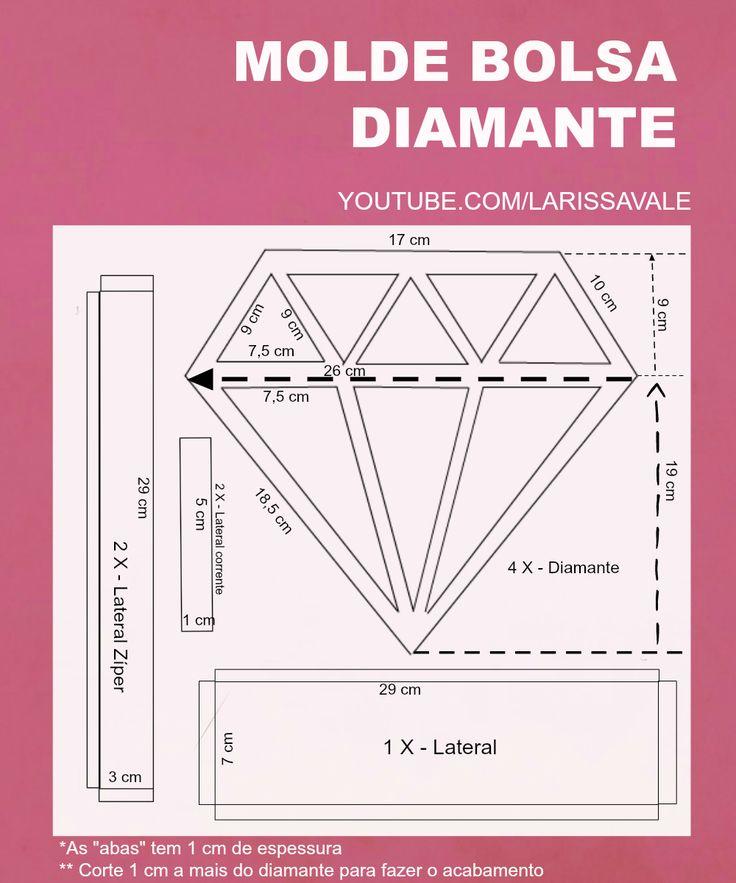 DIY Bolsa Diamante Larissa Vale https://youtu.be/8h2M-fg94IM