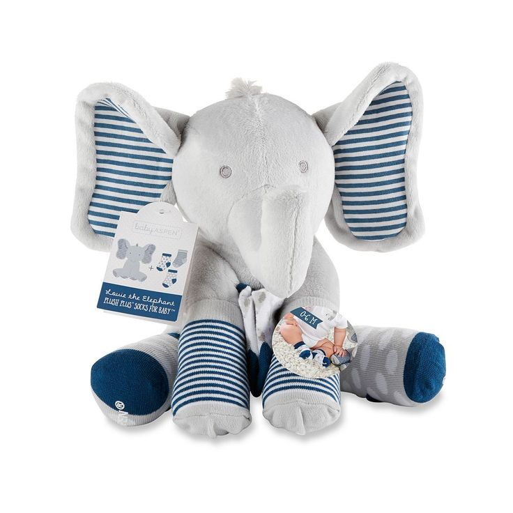 Baby Boy Baby Aspen Lilly the Elephant Plush Toy & Socks Set, Grey