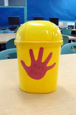 blurt alert--give a red hand to blurter-put in bucket-tally & send home at end of week. give green hand to no blurters. good website w/ lots of info too.