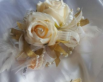 Cream and gold prom wrist corsage set elegant prom corsage vintage corsage  set made to order