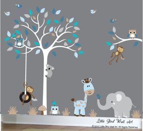 Baby Boy Wall Decal Nursery White Tree Wall Decal Grey Blue   106