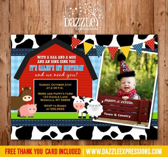 printable barnyard first birthday photo invitation farm animals