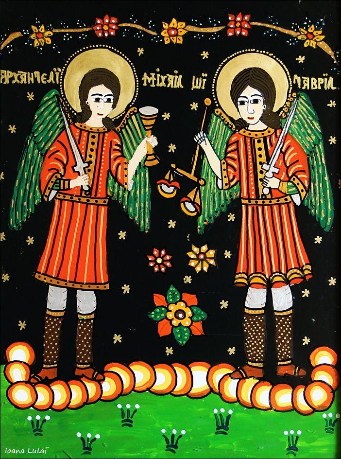 Sfintii Mihail si Gavril - Icoane pe sticla Sapanta - Ioana Lutai - foto Cristina Nichitus Roncea http://icoanepesticla-sapanta.ro