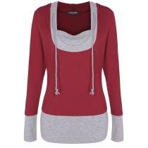 ACEVOG Black Stylish Ladies Women Casual Long Sleeve Patchwork Pullover Sweatershirt Leisure Sports Top Hoodies & Sweatshirts