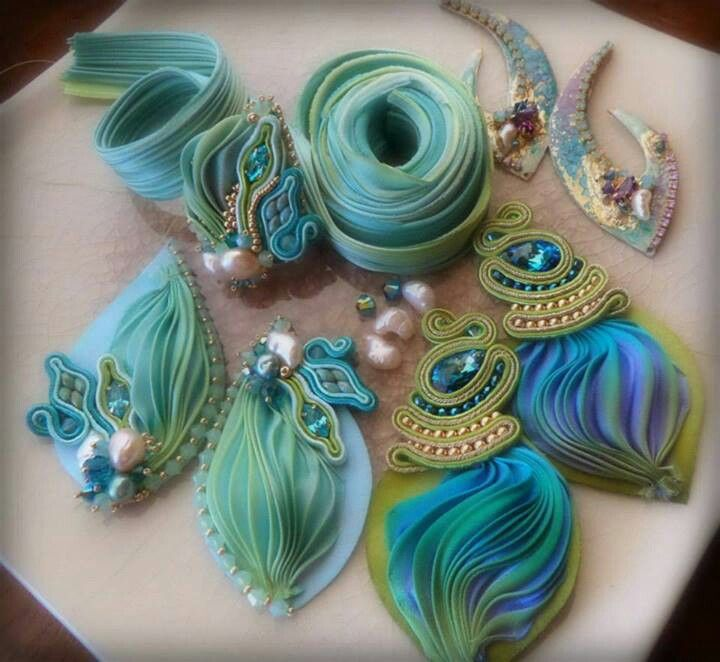 Serena Di Mercione work in progress - shibori ribbon and soutache earrings