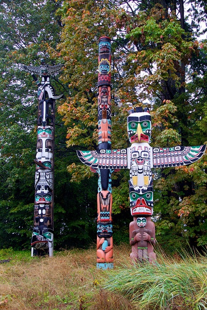 "The totem poles at Brockton Point in Stanley Park, #Vancouver. ""Totem poles in Stanley Park"" #explorebc #totempole"