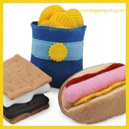 CAMPING SET - PDF Felt Food Pattern (Hot Dog, Bun, Chips, S'more)