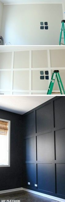 How to add a wood wall and paint it navy. Love this dark and moody navy wall color with the wood accents!