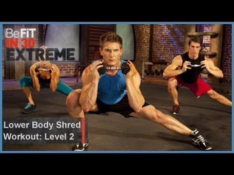 Lower Body Shred Workout | Level 2 from BeFit in 30 Extreme is a fierce, lower body-sculpting, strength-training workout that focuses on several major muscle groups simultaneously to burn fat, strengthen the core, and tone the legs, butt, back, arms, shoulders, chest, and abdominals using 3 high-intensity workout circuits consisting of 3 explosi...