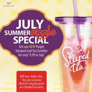 Our NEW Purple Steeped Iced Tea Tumbler is just $9.99 for party guests this month!