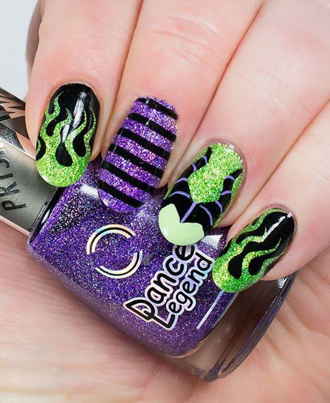 Maleficent from Sleeping Beauty Halloween manicure.