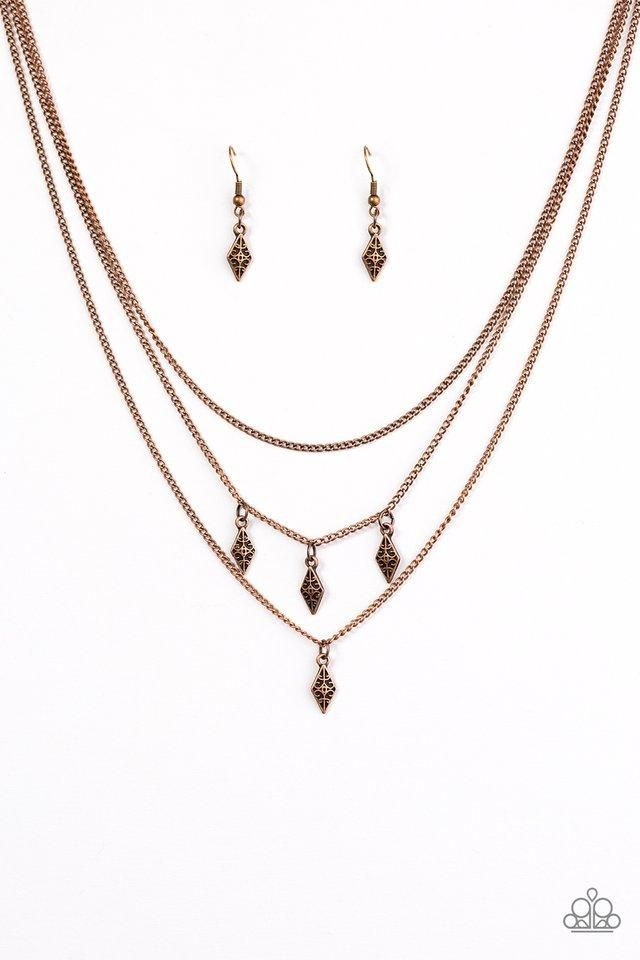 "Paparazzi ""Rural Rarity"" Copper Frame Fringe Necklace & Earring Set"