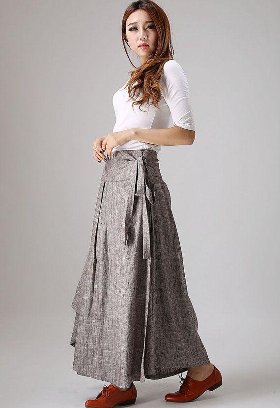 casual linen skirt woman wrap skirt custom made long by xiaolizi