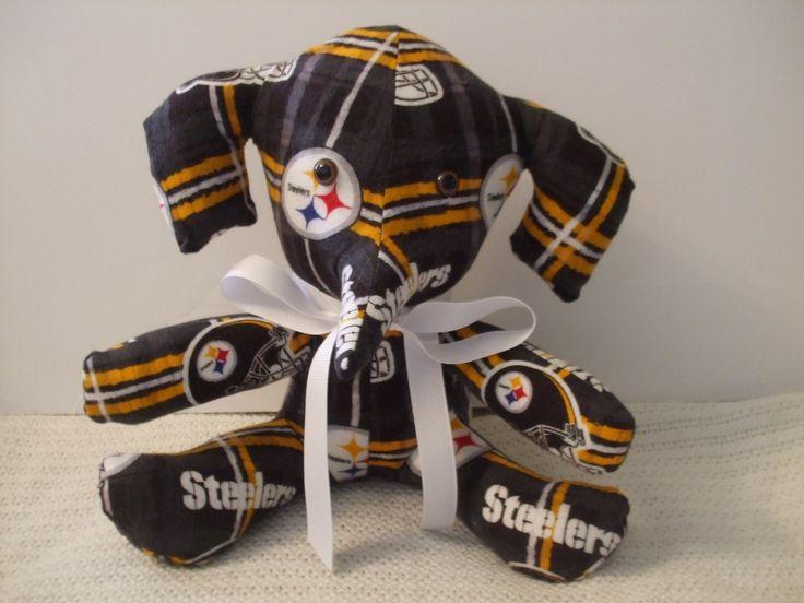 Pittsburgh Steelers Football Stuffed Plaid Elephant