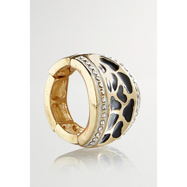 Avenue Embellished Animal Stretch Ring (€8,87) ❤ liked on Polyvore featuring jewelry, rings, gold, plus size, yellow gold rings, imitation jewelry, fake gold rings, dome ring and animal print jewelry