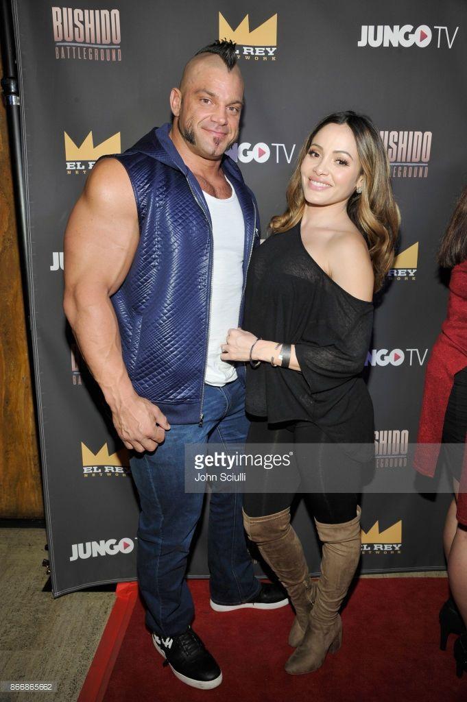 Wrestler Brian Cage and Melissa Santos of Lucha Underground attend Bushido Battleground Fight Night at Exchange LA on October 26, 2017 in Los Angeles, California.