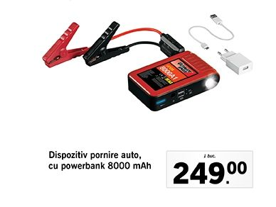 Dispozitiv pornire auto,  cu powerbank 8000 mAh