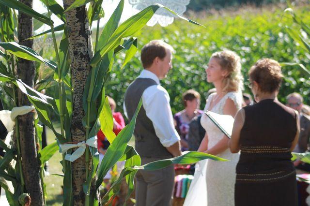 Exotic looking farm wedding cornfield wedding photos at Prairie Gardens, near the cornfield.  www.PrairieGardens.org