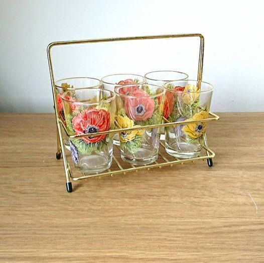 Vintage Set of 6 Retro French Shot Glasses and Stand Party