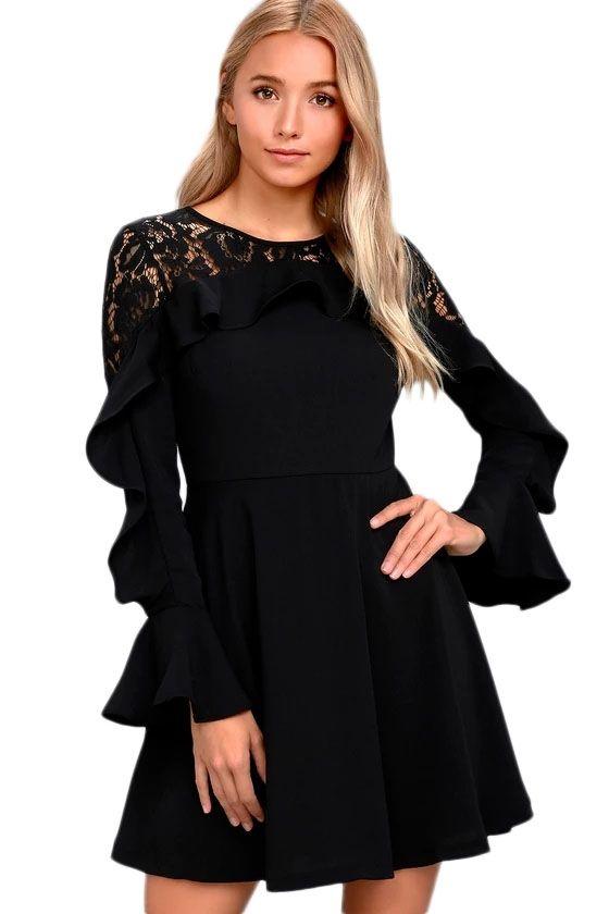 Sukienka czarna falbanka koronkowe plecy
