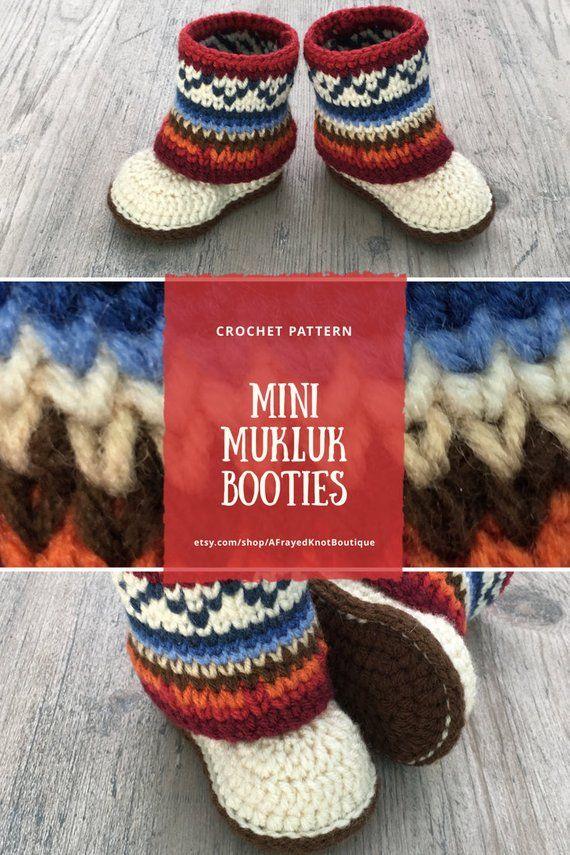 Mini Mukluk Booties Mukluk Baby Boots Crochet Pattern Infant