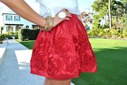 cherry skirt: Fashion, Style, Clothes, Wardrobe, Red Roses, Beauty, Closet, Red Skirts