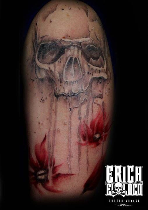 tattoo skull totenkopf blume flower resident tattoo artist erich pinterest totenk pfe. Black Bedroom Furniture Sets. Home Design Ideas