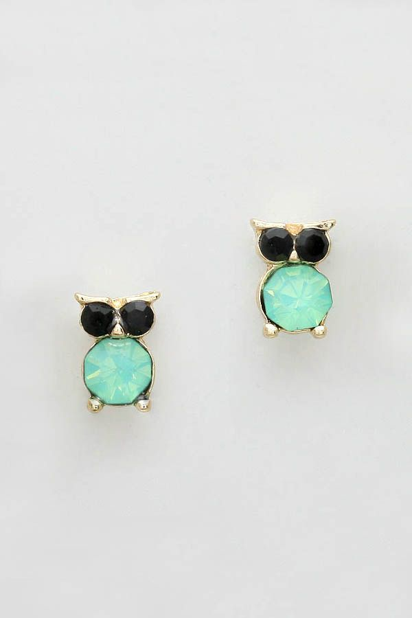 Tiny Owl Earrings in Mint on Emma Stine Limited