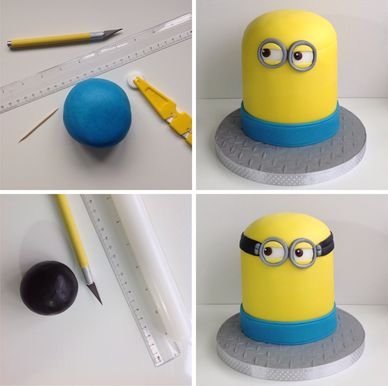 A band of blue icing helps your Minion birthday cake to take shape!