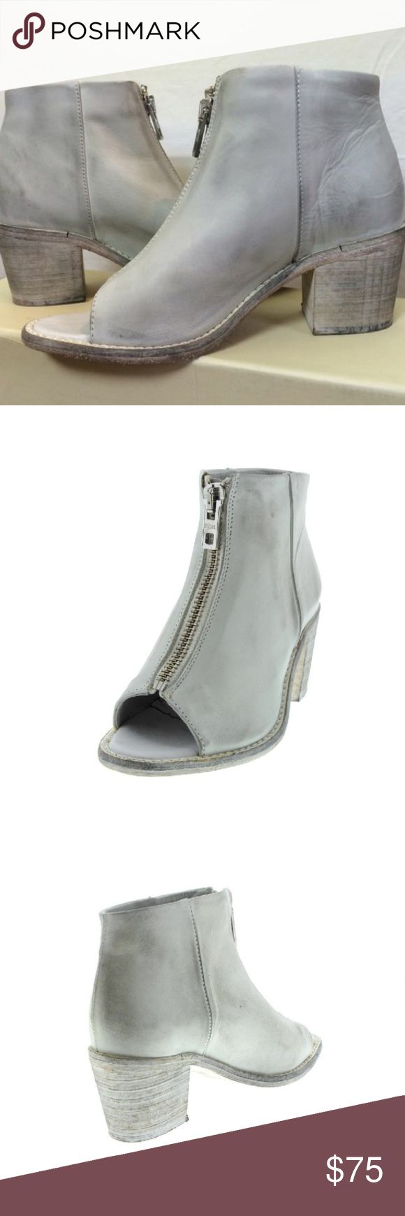 """DIESEL White Open Toe Zip Boots NIB $250 Stylish open-toe Diesel Shoe Boots (Shooties) Heel Height: 2 3/4"""" Platform Height: 1/4"""" Shaft Height: 5"""" Shaft Width: 10"""" Front Zipper Closure All Leather Construction (Uppers & Sole) Fit True To Size. Size: 7.5 NIB $250  Buy 3 or More Items and Get 20% OFF Your Purchase :) ENJOY!!! Diesel Shoes Ankle Boots & Booties"""