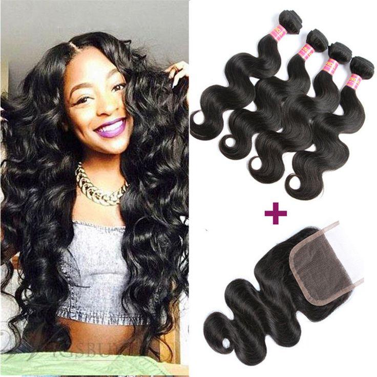 Brazilian Virgin Hair 3 Bundles with 4*4 Lace Closure Human Hair Weft Body Wave #Suitable #BodyWave